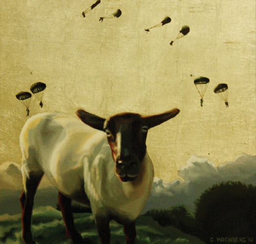 Sheep with Paratroopers, 2010, oil and silver leaf on panel, 16 in. x 16 in.