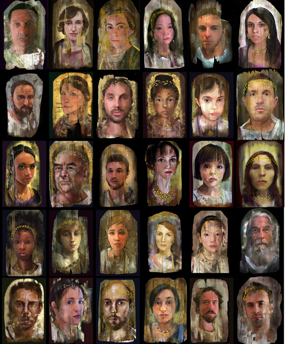 iPhone/iPad Fayum portraits, grid of 30, 2011, Epson prints, 1
