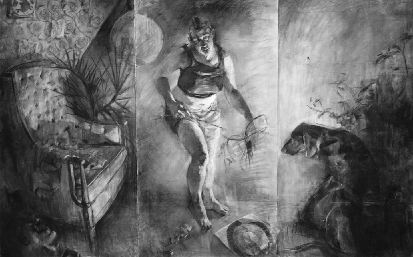 "Wild Domestic, 2015, charcoal on Arches, 72"" x 144"""