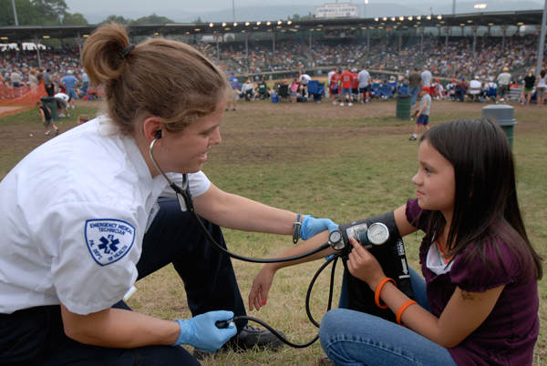 Paramedic students volunteer at the Little League World Series.