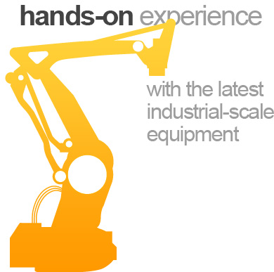 Hands-on experience with the latest industrial-scale equipment
