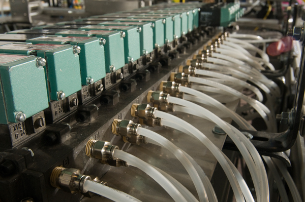 Pneumatic control for the conveyor system