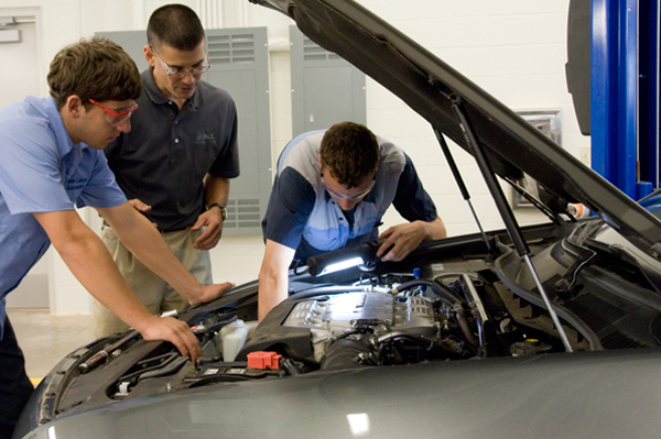 Automotive classroom discussion