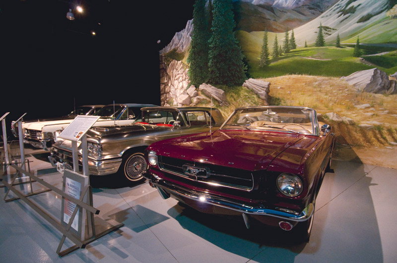 Returned by students to showroom quality, a 1965 Ford Mustang looks at home at The Antique Automobile Club of America Museum.