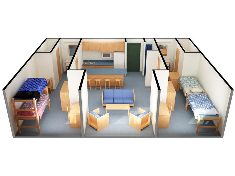 Clinton, Delaware, And Juniata Halls: 4 Person/2 Bedroom (3D View