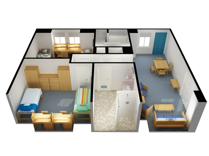 The Village at Penn College: 4 person/2 bedroom (3D view)