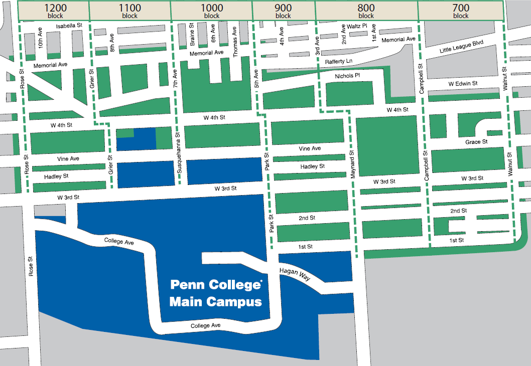 Penn College Police active patrol zone