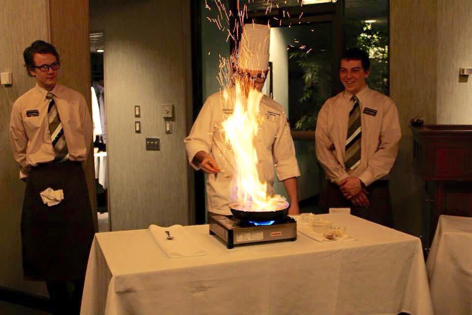 Le Jeune Chef sets itself apart in the Williamsport area by offering unique experiences to diners. During dinner service, student chefs prepare entrée specials tableside for guests, where they flambé your meal right in front of you and light up the evening!