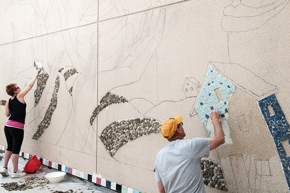 Mosaic installation. Photo by Dalaney T. Vartenisian.