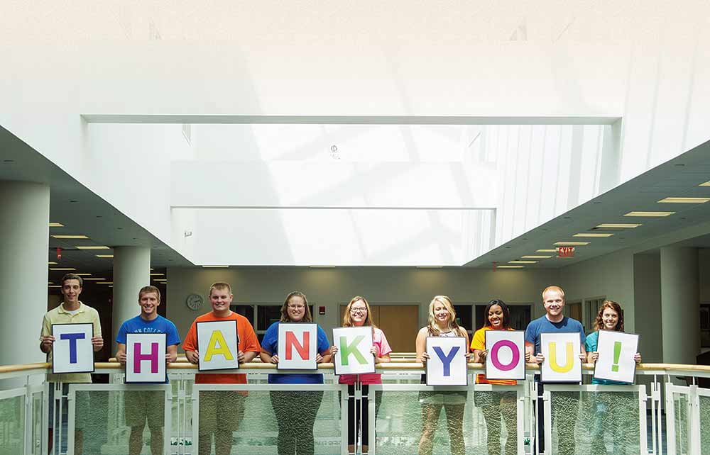 Students express their gratitude to Penn College Scholarshp Campaign donors.