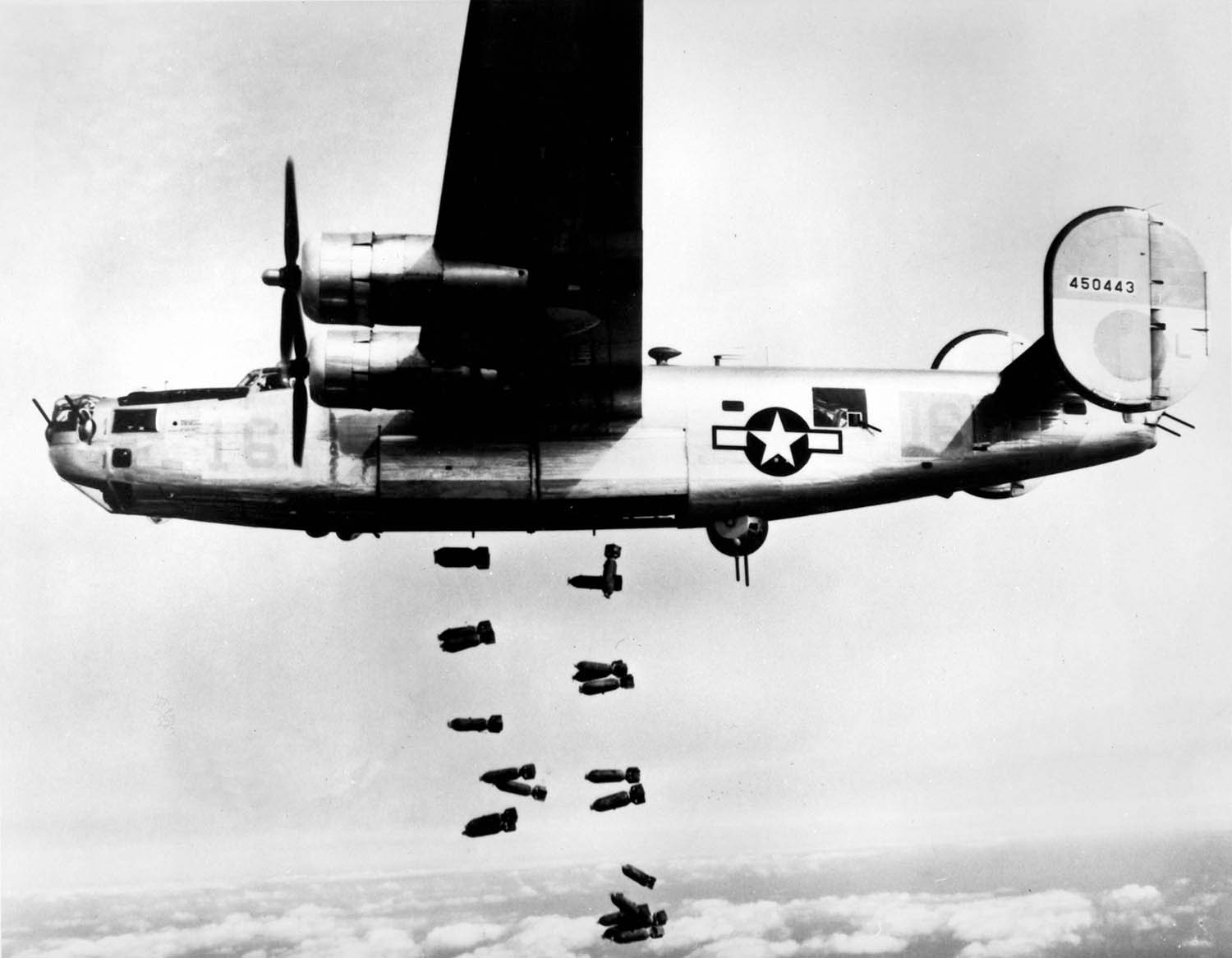 A B-24 flies over Friedrichshaven, Germany. The B-24 was employed in operations in every combat theater during World War II.