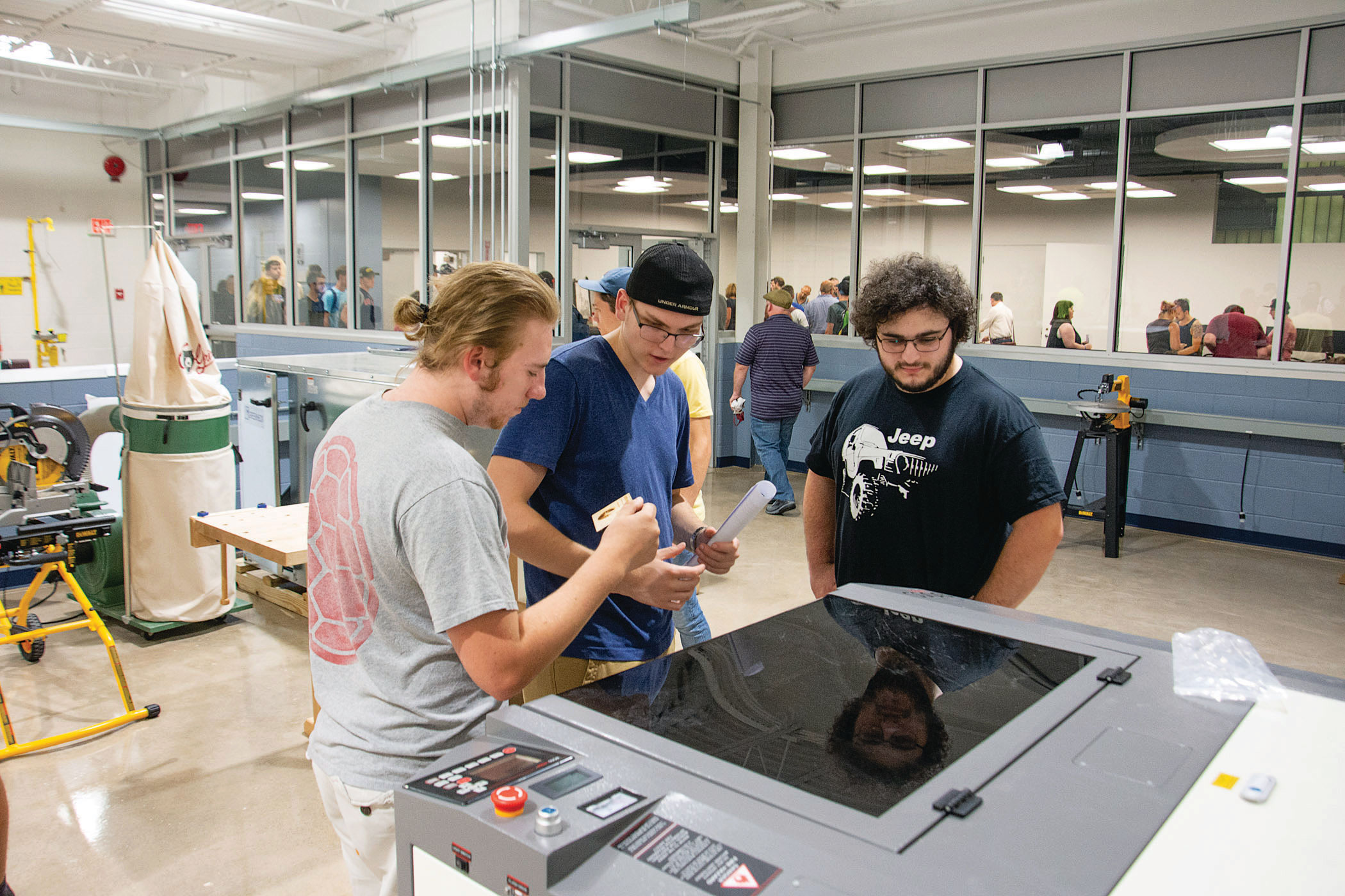 Students explore the makerspace's equipment during an early-semester open house at the new facility.