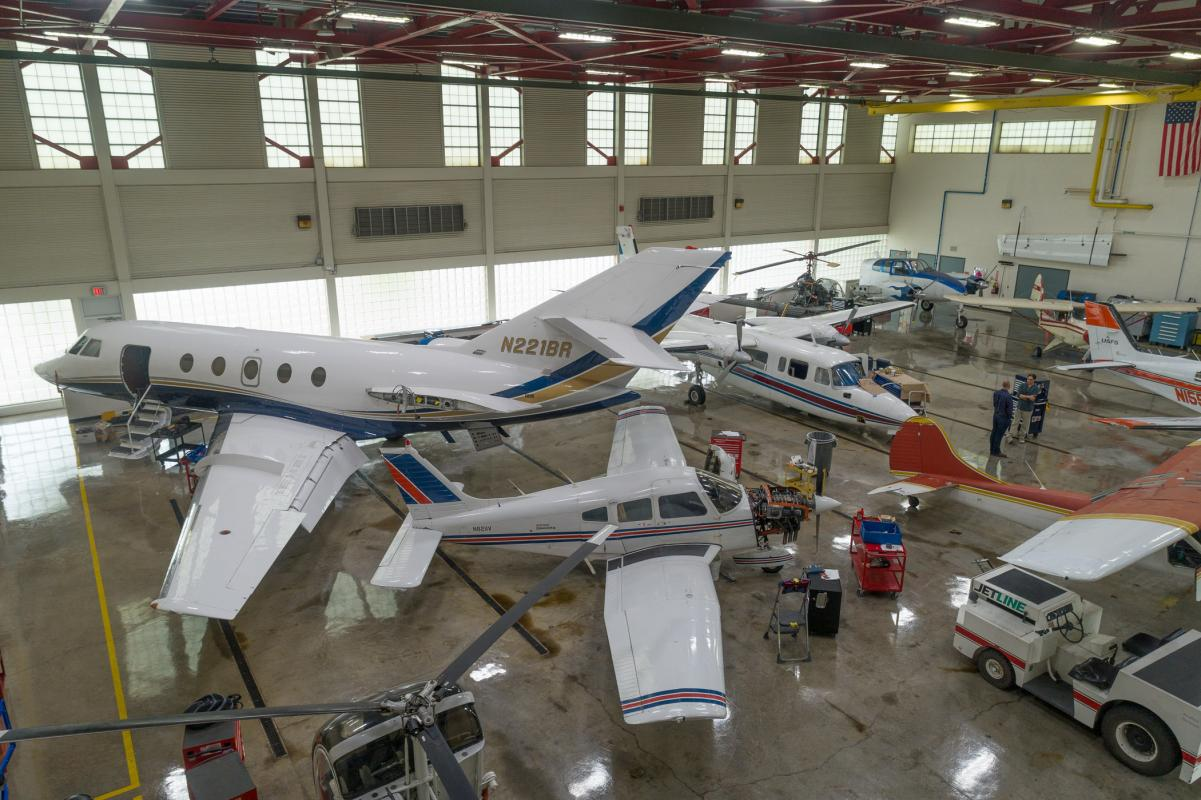 Aviation Center hangar.