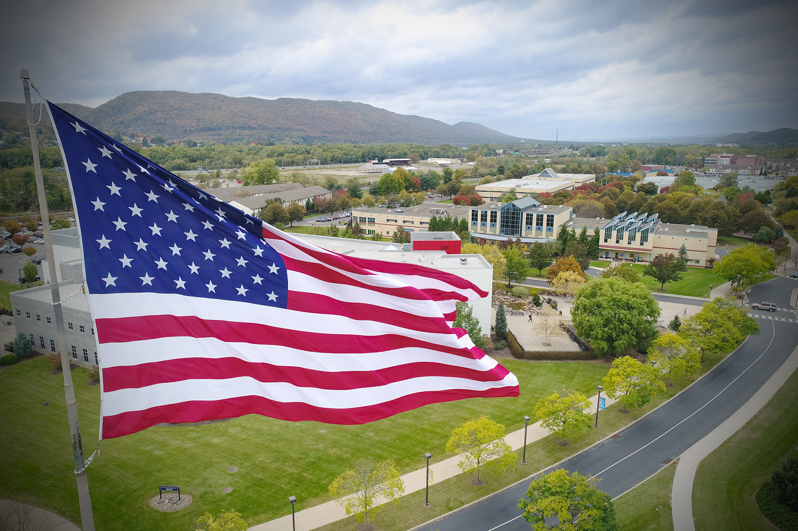 Aerial shot of American flag